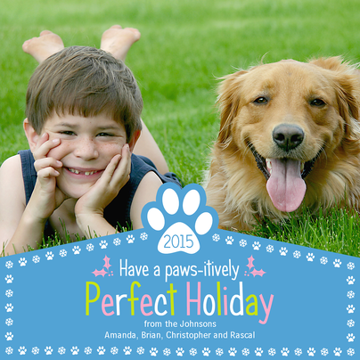 Personalized Holiday Cards, Paws for the Holiday Design