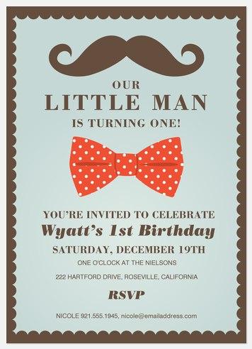 Little Man Kids' Birthday Invitations
