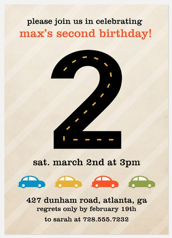 Race Track Kids' Birthday Invitations
