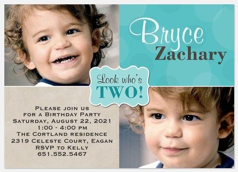 Sticker Blue Kids' Birthday Invitations