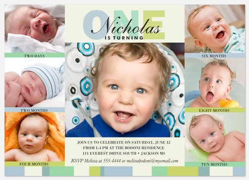 Six x One Blue Kids' Birthday Invitations