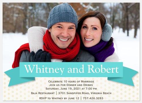 Love's Ribbon Anniversary Invitations