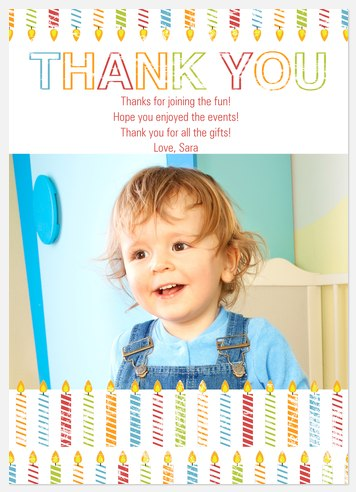 Striped Candles Thank You Cards