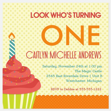 One Big Candle Kids' Birthday Invitations