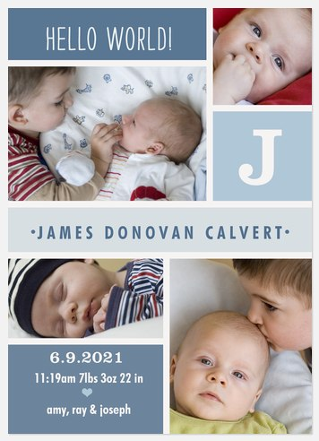 Blue Puzzle Pieces Baby Birth Announcements