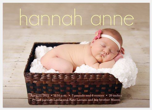 Love In Hand 2 Baby Birth Announcements