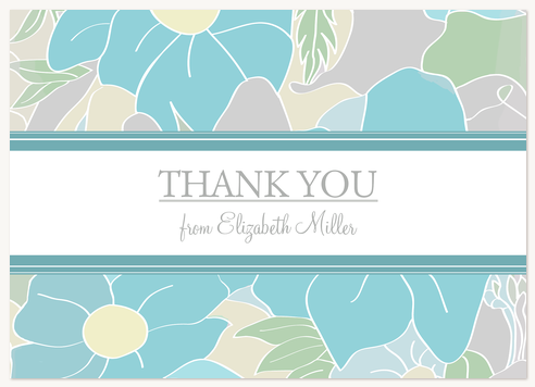 Thank You Cards for Women, Aqua Petals Design