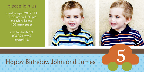 Kids Birthday Invitations, Double Cutie Cars Design