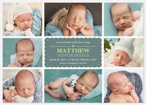 Eight X Love Baby Birth Announcements