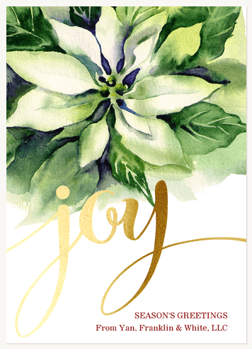 Business Holiday Cards, White Poinsettias Design