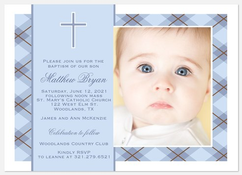 Blue Plaid Blessing Baptism Christening Invitations