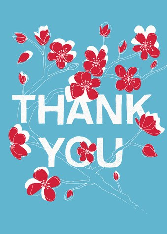 Thank You Cards for Women, Cherry Vine Design