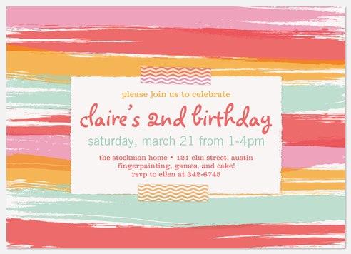 Sherbert Stripes Kids' Birthday Invitations