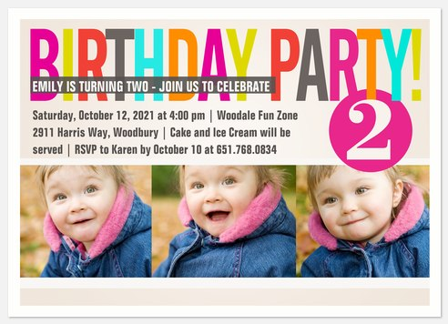 Color Cool Pink Kids' Birthday Invitations