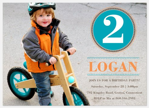 Bike Badge Kids' Birthday Invitations