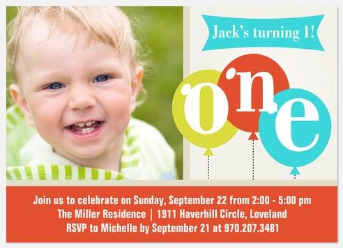 Celebrate Balloons Kids' Birthday Invitations