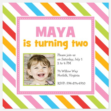 Candy Stripe Kids' Birthday Invitations