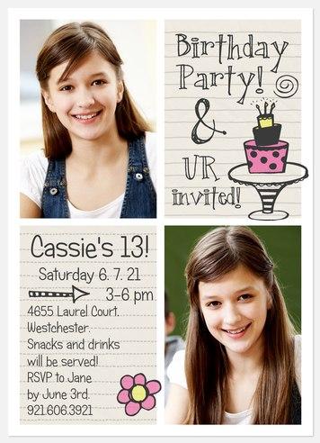 Birthday Notes Kids' Birthday Invitations
