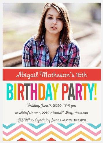 Chevron Candy Kids' Birthday Invitations