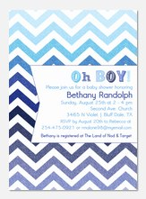 Baby Shower Invites - Blue ZigZags