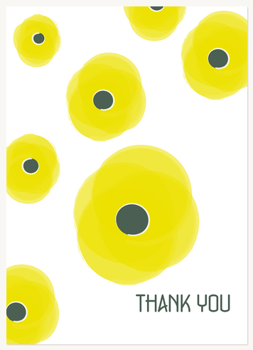 Thank You Cards for Women, Yellow Poppies Design
