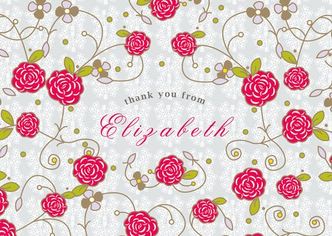 Thank You Cards for Women, Posie Field Design