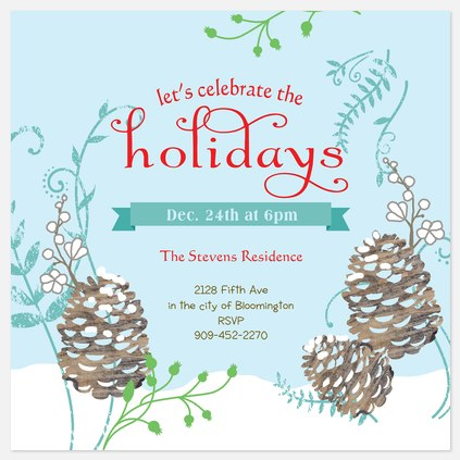 Frosted Pine Holiday Party Invitations