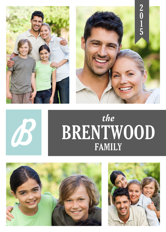 Personalized Holiday Cards, Family Initial Design