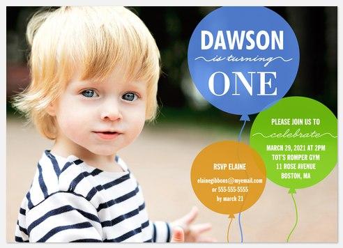 Birthday Balloons Blue Kids' Birthday Invitations