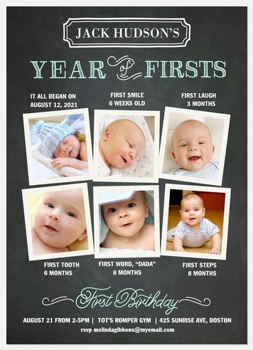 His First Year Kids' Birthday Invitations