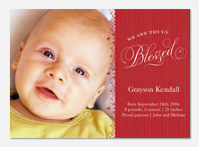 Ruby Red Blessing - Holiday Birth Announcements