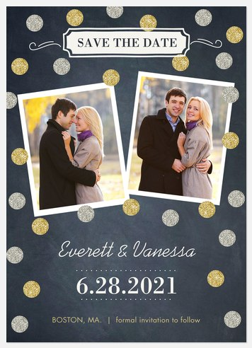 Glitter Date Save the Date Photo Cards