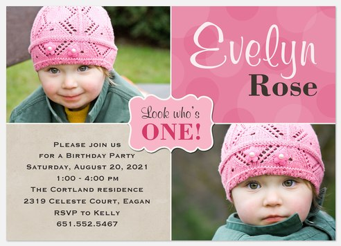 Sweet Colorful One Kids' Birthday Invitations