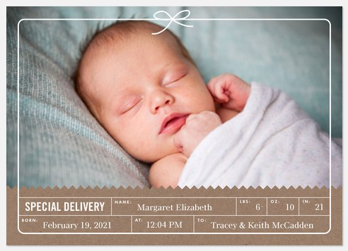 Special Delivery Baby Birth Announcements
