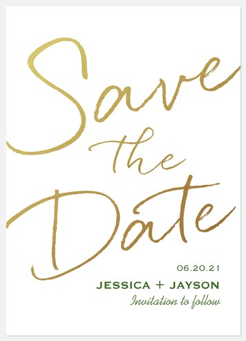 Stroke of Romance Save the Date Photo Cards