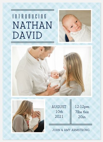 Classic Plaid Baby Birth Announcements