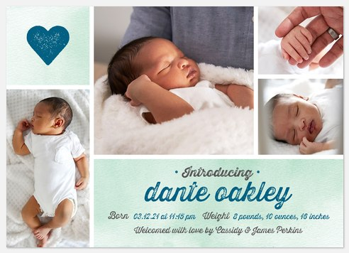 Full of Heart Baby Birth Announcements