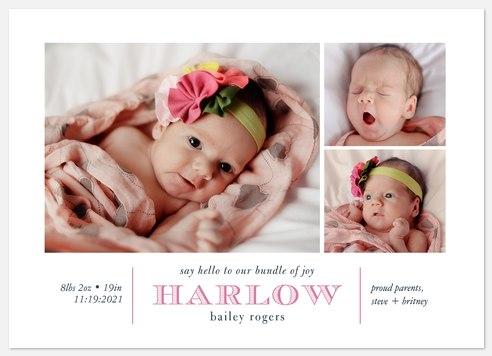 Joyful Little Bundle Baby Birth Announcements