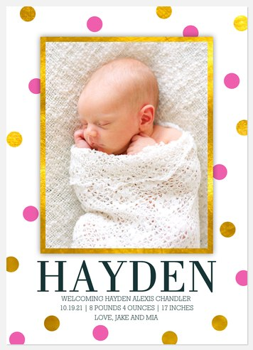 Bright & Shining  Baby Birth Announcements