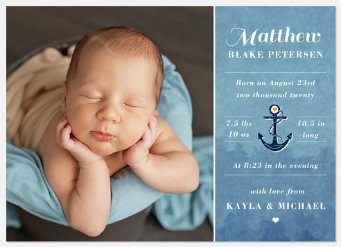Petite Sailor Baby Birth Announcements
