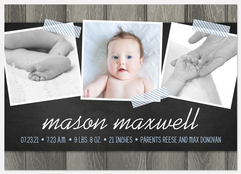 Rustic Charm Baby Birth Announcements