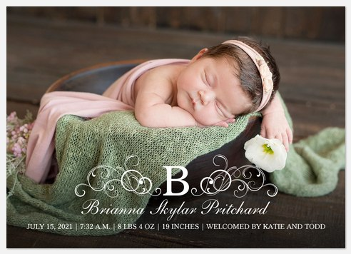 Flourished Initial Baby Birth Announcements