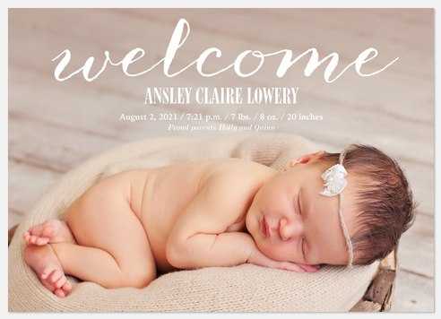 Classic Welcome Baby Birth Announcements