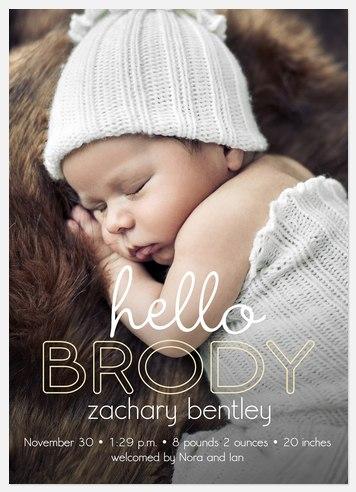 Hi, Hello Baby Birth Announcements