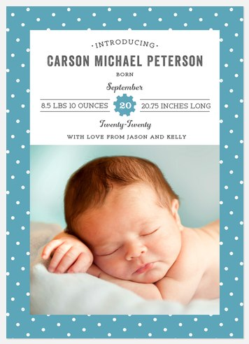 Dots & Gears Baby Birth Announcements