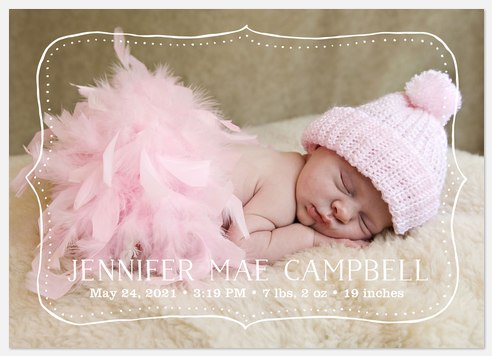 Rustic Frame Baby Birth Announcements