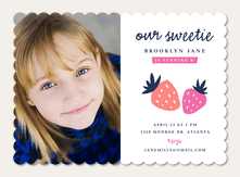 Girl Photo Birthday Party Invitations - Strawberry Fields