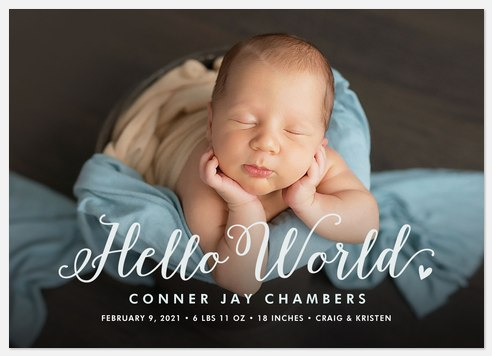 Charming Hello Baby Birth Announcements