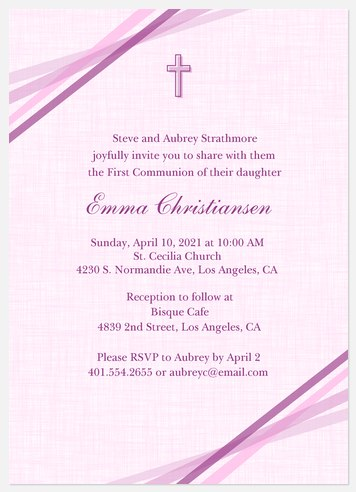 Lilac Ribbons First Communion Invitations