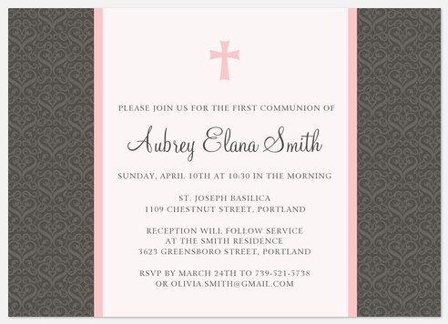 Pink Silver Cross First Communion Invitations